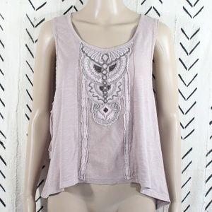 Free People Ash Pink Jeweled Sleeveless Top XS